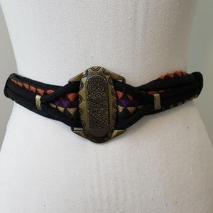 Artisan Carved Metal and Woven Belt